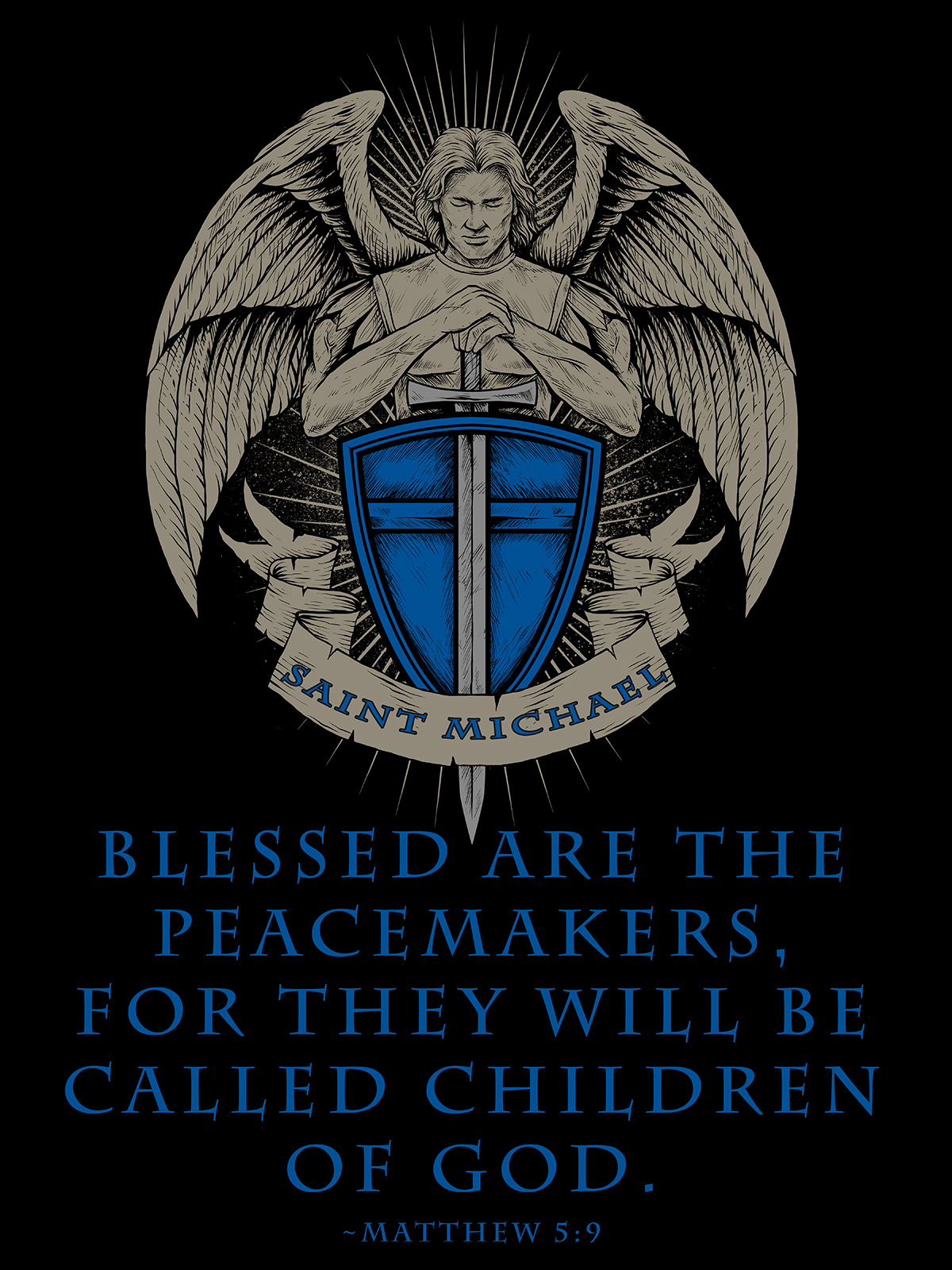 saint michael blessed are the peacemakers poster